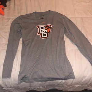 BGSU Men's Gray Long Sleeve Dri-fit Shirt